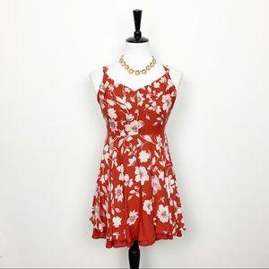Kimchi Blue Rust Floral Mini Dress Size 6